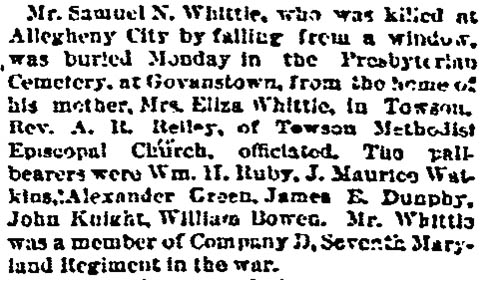 Samuel N. Whittle Dies