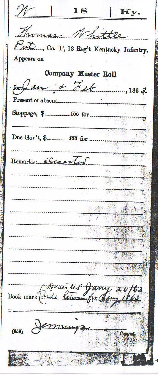 Thomas Whittle Muster Roll Feb 1863